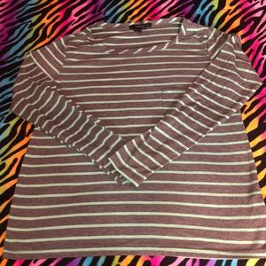 Forever 21 Gray Green Stripe Casual T-Shirt Small